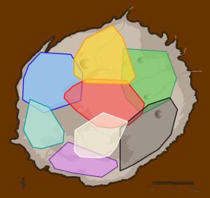 Karte des Ngorongoro-Kraters mit den acht Hyänen-Territorien